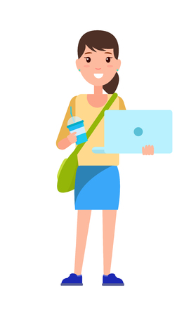 Stylish school girl student with handbag over shoulder, blue cup of coffee and notebook vector illustration cartoon female character in skirt isolated