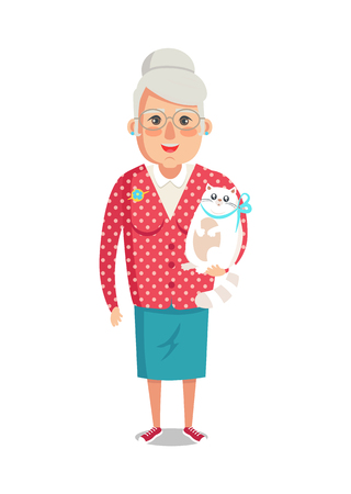 Elderly woman in red jacket with home cat, grandmother vector of granny with cute domestic kitten pet isolated on white background, lady on retirement Illustration