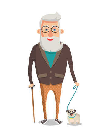 Grandfather walking with dog isolated on white background. Bearded old man with stick, man on retirement vector grandpa with adorable pet, cartoon style