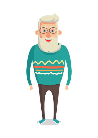 Male character gray hair bearded smiling man with beard and mustaches, grandpa vector illustration of aged seniors cartoon style isolated on white