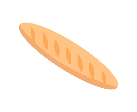Long loaf baguette thin French bread made from basic lean dough vector illustration isolated on white background. Tasty crispy crust, food for snack Ilustração
