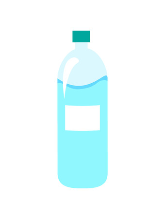 Plastic bottle of water object closeup, pure liquid important for human body and life, refreshment of healthy drink, isolated on vector illustration