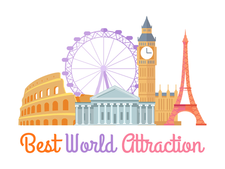 Best World Attraction Poster Vector Illustration