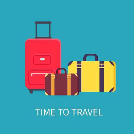 Time to travel poster headline, different valises and baggages, preparation for vacation, holiday packing collection isolated on vector illustration Çizim