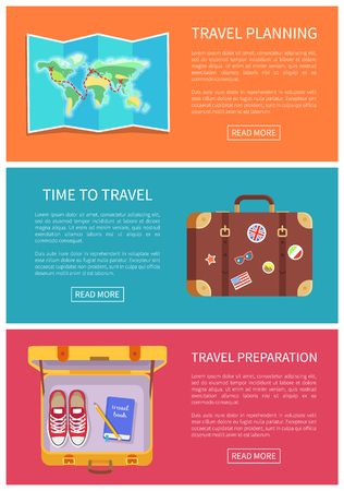 Travel planning web pages collection, paper world map, luggage with stickers, baggage containing shoes, book and writing pen, vector illustration Çizim