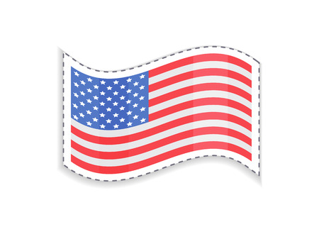 Old Glory USA flag of rectangular shape, patriotic and democratic symbol of country patch sticker, Grand Union sign, isolated on vector illustration