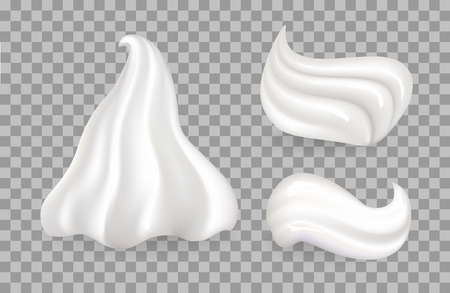 Dairy whipped cream set, sweetened and flavored with vanilla taste, fresh white mousse, used to decorate desserts, vector illustration on transparency