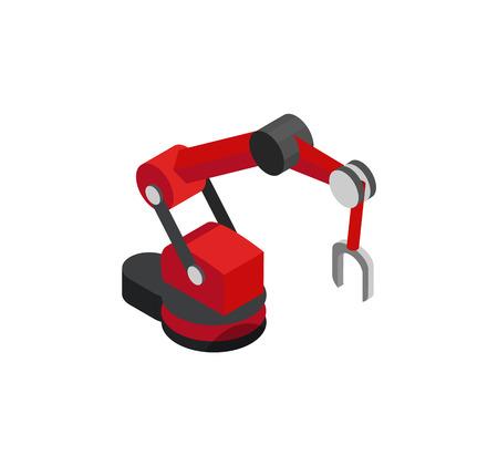Macchina robot produttiva con magnete all'estremità, illustrazione vettoriale di attrezzature industriali e piattaforma mobile, banner isolato su sfondo bianco