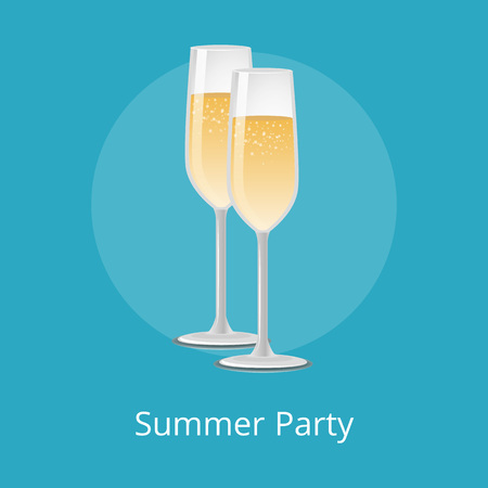 Summer Party Champagne Classical Luxury Alcohol Illustration
