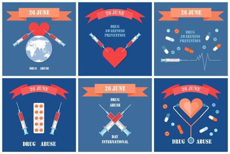 Internationaler Tag gegen Drogenmissbrauch, Plakate für illegalen Opiathandel. Spritzen im Herzen, Tod durch Betäubungsmittelsucht, verbotener Pillenvektor Vektorgrafik