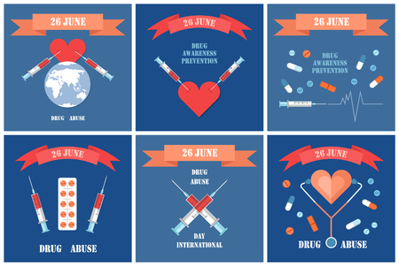 International Day against drug abuse, illegal opiate trade posters set. Syringes in heart, death caused by narcotic addiction, prohibeted pills vector