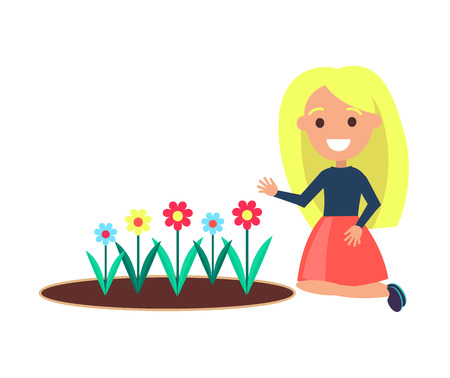 Girl sitting near flower bed vector illustration of young blonde female isolated on white. Cheerful gardener planting blooming buds standing on knees Standard-Bild - 110406622