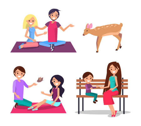 Man and woman sitting on blanket and feeding deer and bird from hand, smiling people communicating with nature, mother son on bench vector illustration