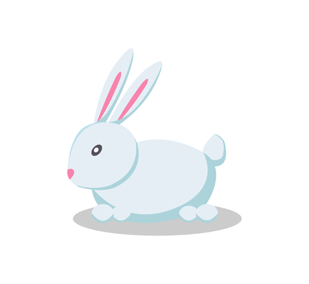 Rabbit with long pink ears in flat style design vector illustration of cartoon fluffy hair, bunny soft toy isolated on white background, forest animal