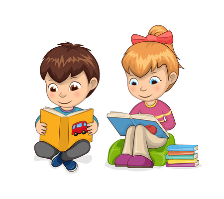 Kids self-development hobby reading of books for children, girl sitting in armchair enjoying process, boy smiling isolated on vector illustration