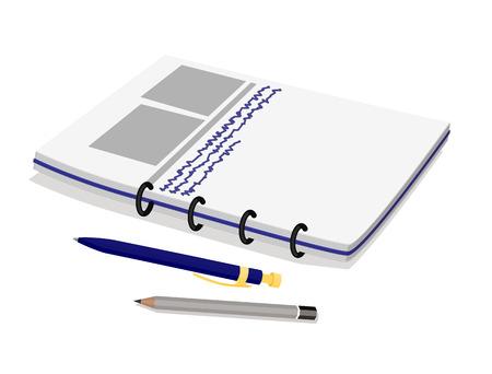 Notebook-Bleistift-Set Büroartikel und Notizen mit schriftlichen Informationen, abgeschnittene Seiten Info-Charts, Vektor-Illustration, isoliert auf weißem Hintergrund