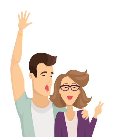 Couple of man and woman having fun girl showing peace gesture male rising his hand up happy people vector illustration isolated on white background