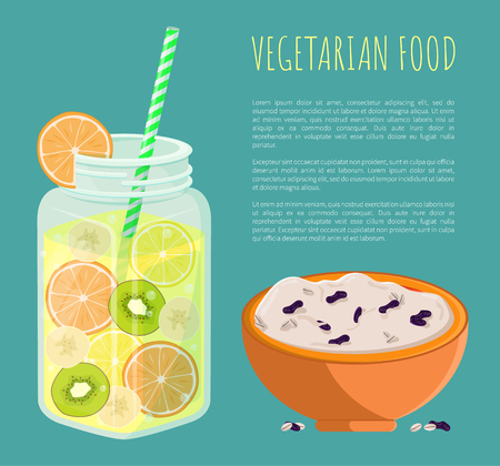 Vegetarian food poster with refreshing summertime detox diet juice with pieces of grapefruit, kiwi and lemon and bowl of rice porridge with raisins Ilustracja