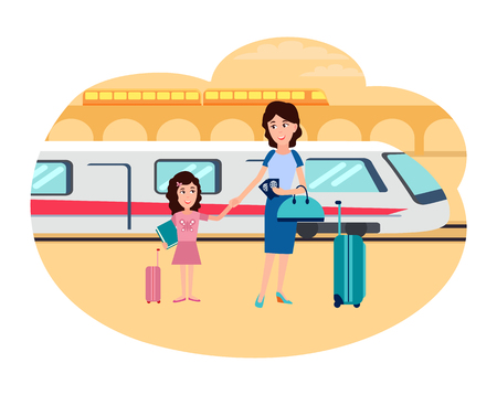 Refugees mother and daughter at railway station. Parent with child stand near baggage ready to move in other country isolated vector illustration. Illustration