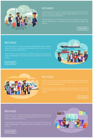 Familles de réfugiés qui déménagent dans un autre pays. Les musulmans à l'aéroport moderne, à la gare pratique et aux bannières du port maritime, illustrations vectorielles.