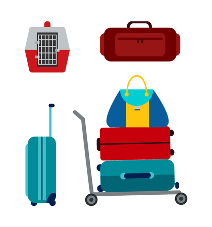 Luggage icons collection, pet carrier for safe animal transportation, baggage and bags set placed in cart with wheels, isolated on vector illustration