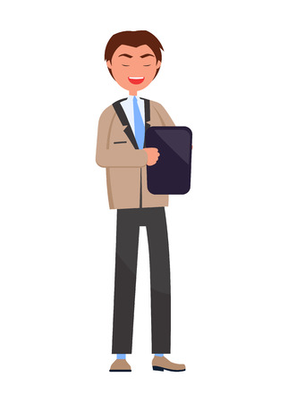 Executive manager isolated, professional employer with tablet, consultant elegant business man in formal wear vector illustration flat style male
