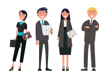 Ludzie na spotkaniu biznesowym wektor odnoszący sukcesy zespół, dobrze ubrani pracodawcy w drogich garniturach, biznesmeni i kobiety z cyfrowymi tabletami na białym tle zestaw