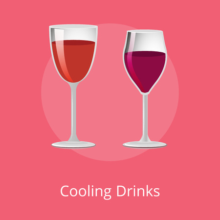 Cooling drinks glasses of elite red wine classical alcohol in elegant glassware vector illustration isolated, winery refreshing merlot burgundy beverages
