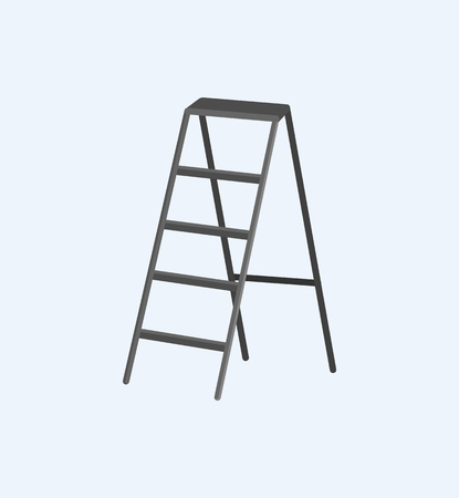 Aluminum stepladder self-supporting object vector illustration icon in flat style. Staircase tripod ladder isolated on grey, instrument for climbing up