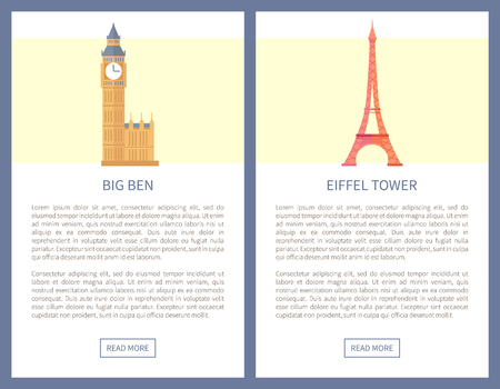Big Ben and Eiffel Tower on info posters. Most famous European attractions from France or England. Architectural constructions vector illustrations. Illustration