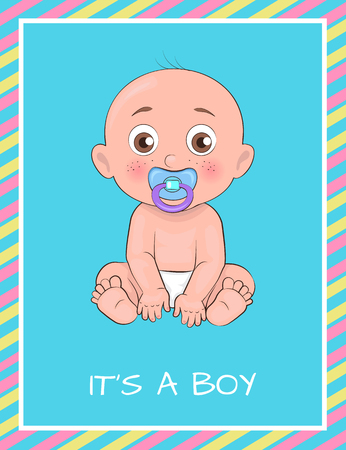 Its a boy poster dedicated to baby shower day vector illustration of newborn infant with pacifier isolated on blue background, male toddler banner