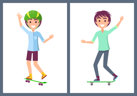 Skaters collection of teenagers wearing t-shirt and riding skateboard boys set people in good mood vector illustration isolated on white background