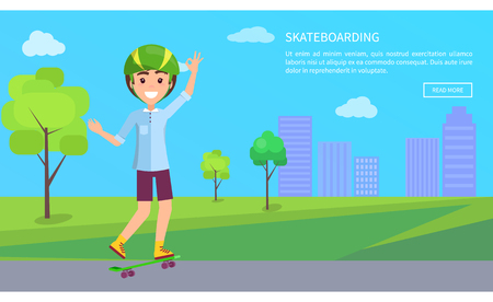 Skateboarding web page text sample button, online internet, skateboarder boy in city park, building and trees on background, teen helmet vector