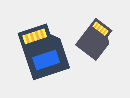 SD Cards for Photo and Video Storage Color Icons  イラスト・ベクター素材