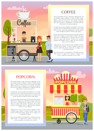 Coffee and popcorn wagons in city park poster, vector illustration of mobile street food shops, frame for text samples, customers sellers outdoors Ilustrace
