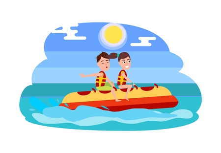 People summer activity, banana boat with boy and girl sitting in it and enjoying ride, vector illustration blue waters, sun and sky