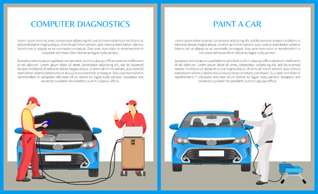 Paint car and computer diagnostics done by professional workers, maintenance of vehicles, transport service banners collection vector illustration