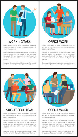 Working task and successful team, posters collection, group of business people, giving high-five, persons celebrating achievements vector illustration Illustration