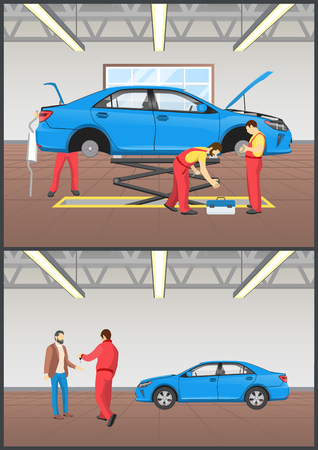 Car Maintenance Auto Mechanics Vector Illustration