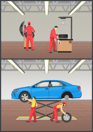Job with automobile fixing, working people in uniforms repairing vehicle at enlightened garage, auto mechanics work collection, vector illustration
