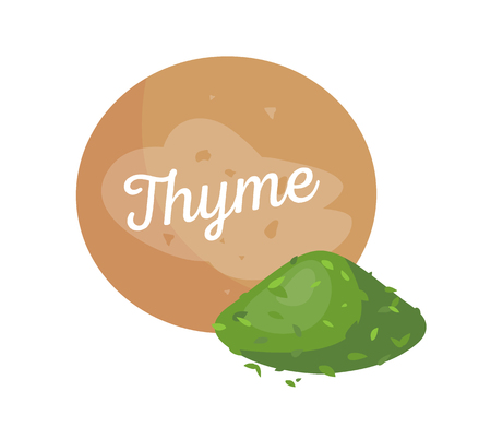 Thyme spices and label poster, plant powder, dry aromatic herb, seasoning organic cooking condiment vector illustration isolated on white background