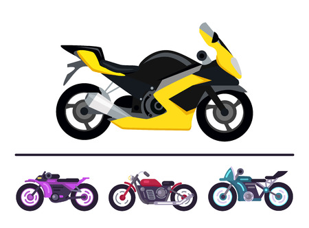 Modern Bike Design Yellow Scooter Set Motorbikes Imagens