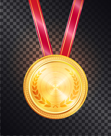 Noble Gold Round Medal on Shiny Glossy Red Ribbon Illustration