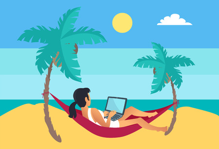 Distant worker with laptop freelancer woman lying on hammock among palms at seascape, working female combine rest and job, positive remote employee vector
