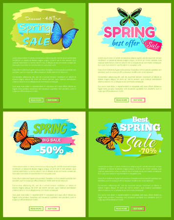 Set of banners sale spring discounts offer labels with butterflies, springtime creatures vector web online posters push buttons read more buy now Illustration