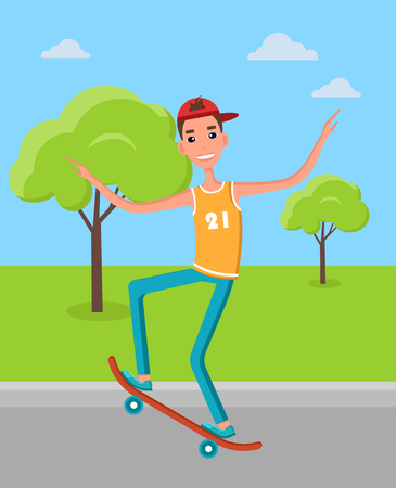 Skateboarder makes freestyle tricks balancing on board. Skater training in green skatepark getting ready for go skateboarding day at 21st of June. Illustration