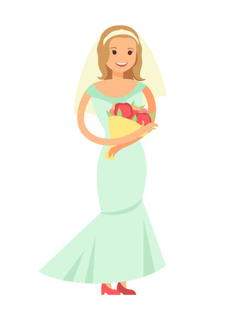 Woman standing with bouquet and broad smile on face, bride in long traditional dress of heavenly color isolated cartoon flat vector illustration.