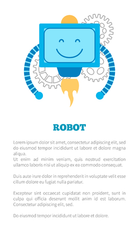 Robot with smile poster, big text sample, bot expresses good emotions and produces fire, squared creature, vector illustration on white background.