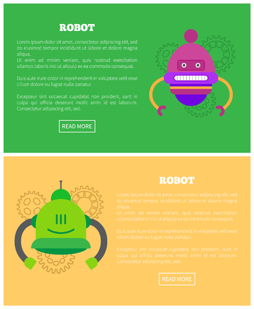 Robot set, text samples and headlines, buttons near bots with emotions on faces, futuristic creatures isolated cartoon flat vector illustrations. Stock fotó - 110350369