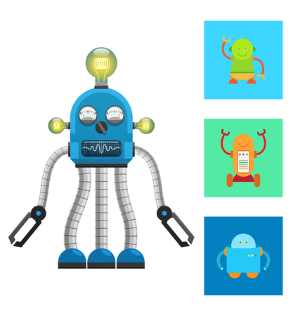 Artificial robots or creatures set, intelligent bots, mechanism with electric bulb and hands, cartoon flat vector illustration isolated on white. Illusztráció